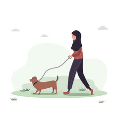 Young arab woman in hijab walks with dog through vector