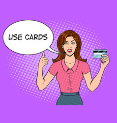 Young woman with bank card pop art vector