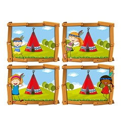 Children in indian costume by teepee vector image vector image