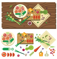 Dining table with vegetables vector image vector image