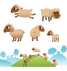 Landscape and set of sheep and Lambs vector image