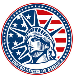 liberty statue head independence day usa flag vector image vector image