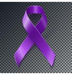 Purple awareness ribbon over geometric background vector