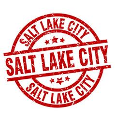 salt lake city red round grunge stamp vector image vector image