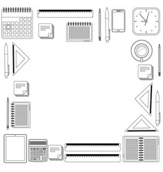 set hand draw office tools vector image