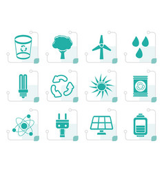 stylized ecology energy and nature icons vector image