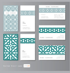 Visit cards set islamic vector image vector image
