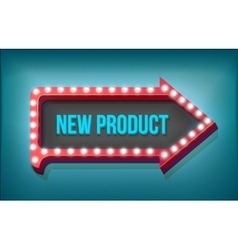 Volume retro arrow with lights new product word vector