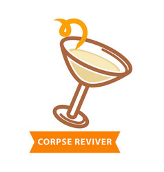 corpse reviver cocktail with bend straw isolated vector image