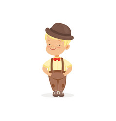 cute little boy in bowler hat young gentleman vector image