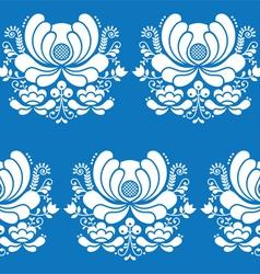Norwegian folk art seamless white pattern on blue vector image