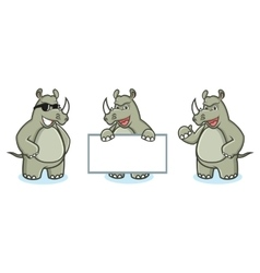 Rhino mascot happy vector