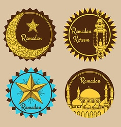 Sketch Ramadan emblems vector image