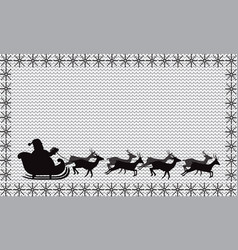Black silhouette of santa claus flying in a vector
