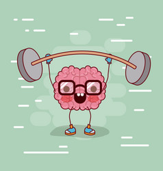 brain cartoon with glasses and weightlifting and vector image
