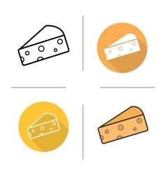 Cheese flat design linear and color icons set vector image vector image