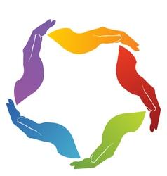 Hands teamwork vector image