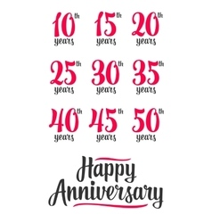 Happy anniversary sign collection vector image