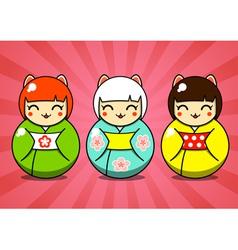 Three matryoshka dolls vector image vector image