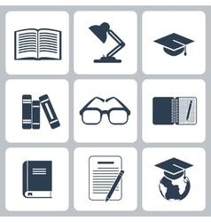 Black education icons set on white vector image