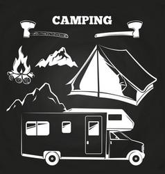 camping or hiking vintage elements on chalkboard vector image vector image