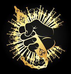 hand and hookah silhouette gold vector image vector image