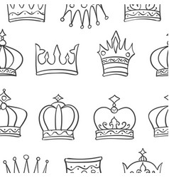 pattern crown hand draw collection vector image