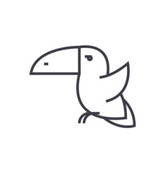 toucan bird line icon sign vector image