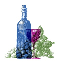 wine bottle logo design template grapes or vector image vector image
