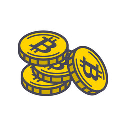 yellow bitcoin coins vector image