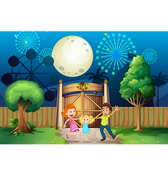 A happy family inside the yard vector image