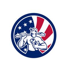 american drainlayer usa flag icon vector image