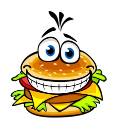 Appetizing smiling hamburger vector image