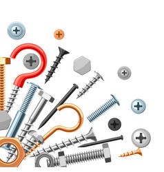 background with bolts nuts nails vector image