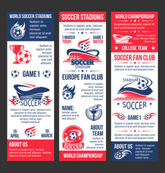 banners for football soccer match game vector image