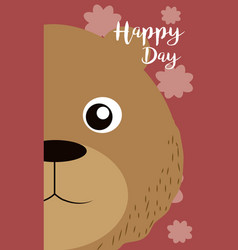 Bear cute animal cartoon card vector