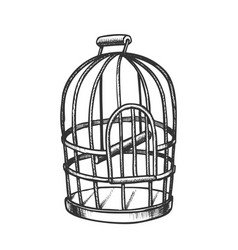 Birdcage for domestic parrot monochrome vector