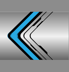 blue arrow direction on silver black line vector image