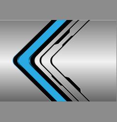 Blue arrow direction on silver black line vector