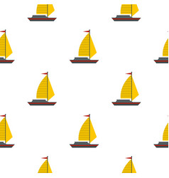Boat with yellow sail pattern seamless vector