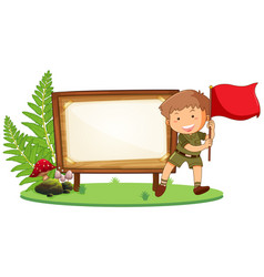 Boy scout on wooden board vector