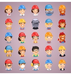 Builders Cartoon Characters Icons Set vector image vector image
