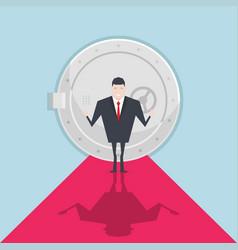 businessman standing in front of a safe door vector image