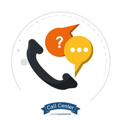 Call center telephone communication help vector
