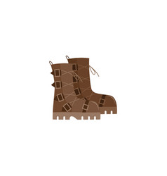 camping work boots from brown leather with edgy vector image