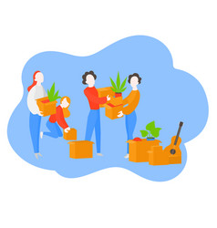 Cartoon family packing for moving to new house vector