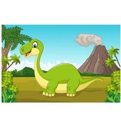Cartoon happy dinosaur in the jungle vector