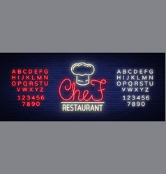 chef restaurant logo sign emblem in neon style vector image