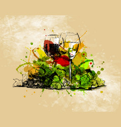 colored hand sketch still life with glasses vector image
