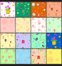 colorful background with flowers and hearts vector image